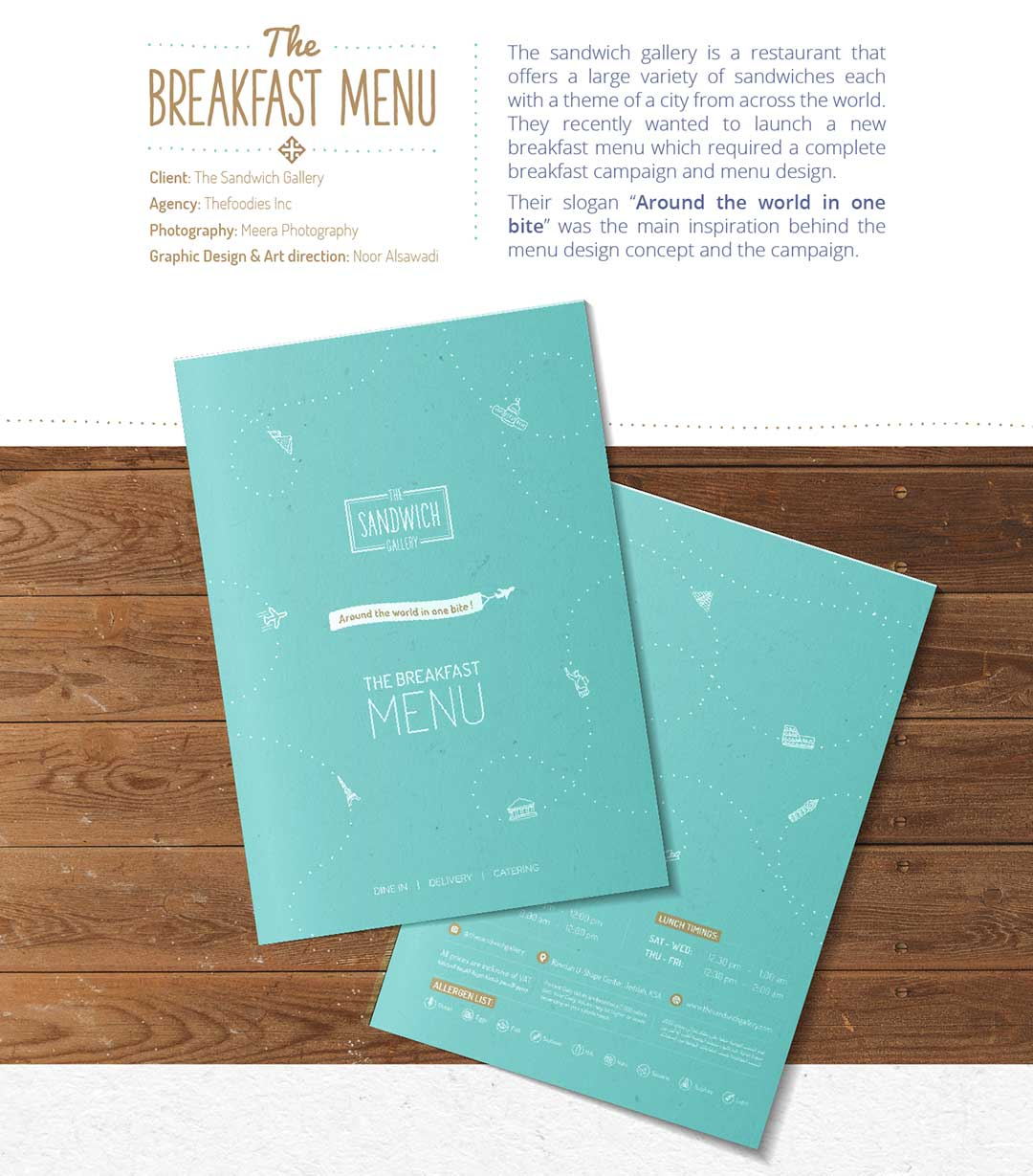 The sandwich gallery breakfast menu design concept.