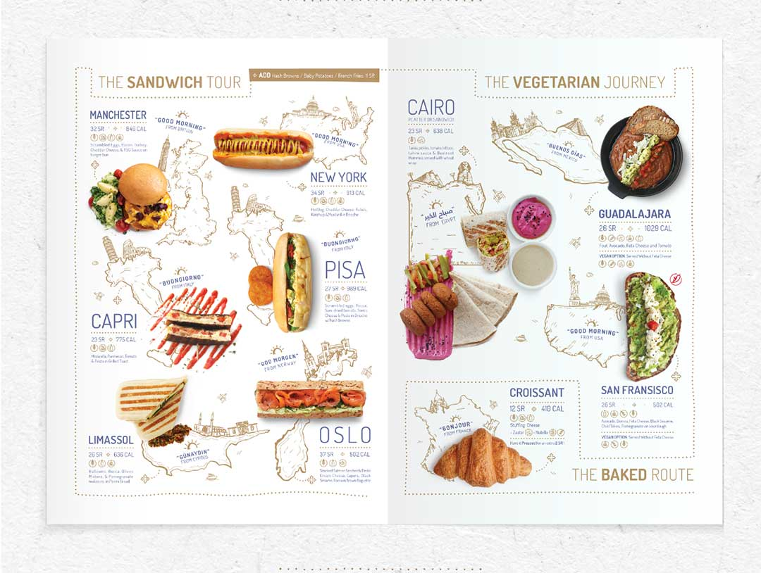 Menu Page design section including sandwiches and vegetarian dishes