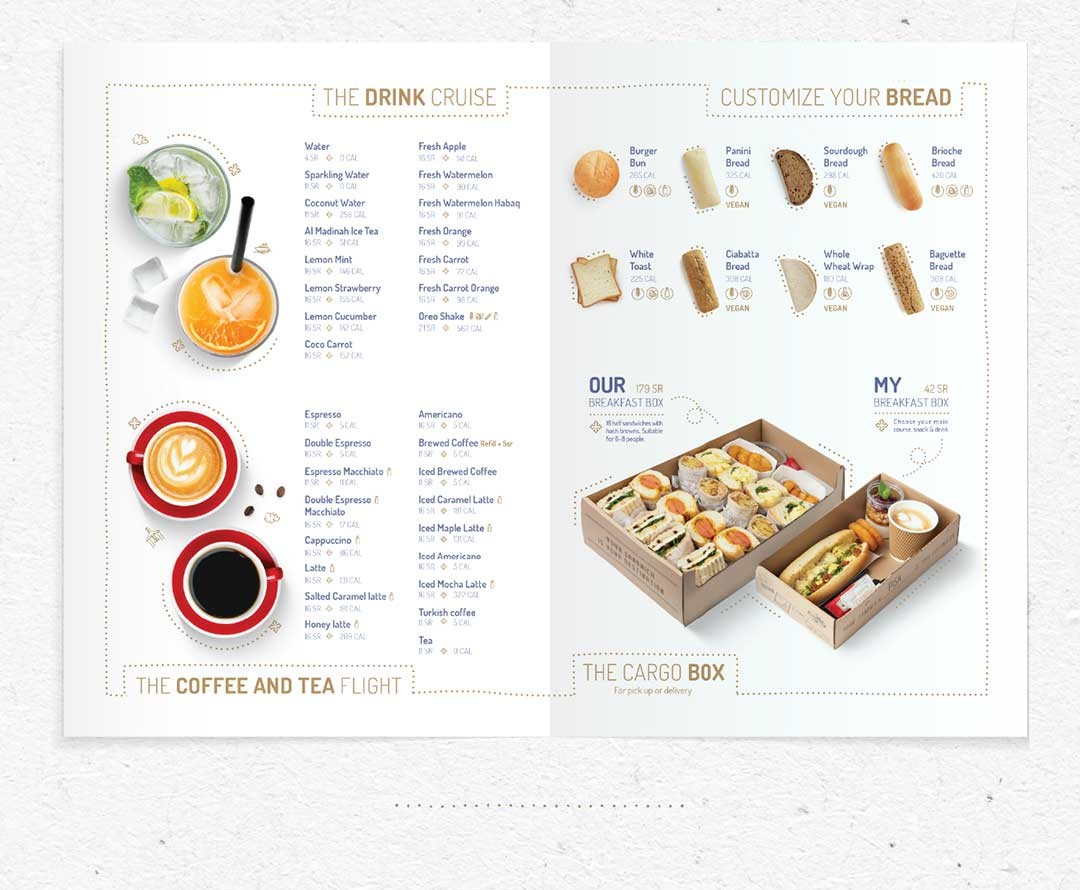Menu design section including hot and cold drinks and beverages. Types of bread and catering box options for breakfast.